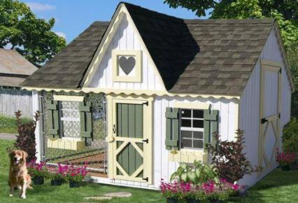 Casa con flores para perro